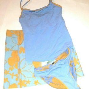 Carve 3 Piece Swimsuit Skirt Tankini Reversible S